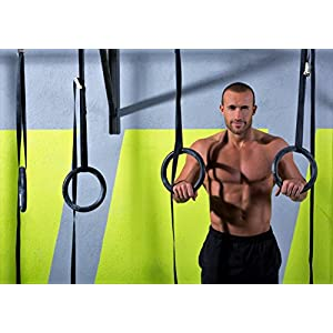 Gymenist Pair of Gymnastics Gym Rings With Easy Adjutable Buckle Straps Set of 2 Workout Exercise Hoops with Bands and Adjustable Buckles