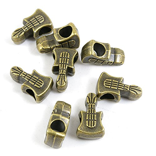 Guitar Bead (10 PCS Loose Beads Ancient Antique Bronze Fashion Jewelry Making Crafting Charms Findings Bulk for Bracelet Necklace Pendant A04650 Guitar Loose Beads)