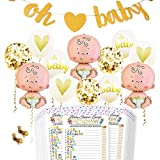 Baby Shower Party Decorations Kit Unisex, Girls and Boys | Oh Baby Banner Neutral Decor | 12 Pcs Balloon Set | Glitter Unisex Pregnancy Announcement Gender Reveal Party | 50 Pcs Premium Baby Shower Emoji Game Cards