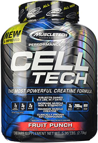 MuscleTech Cell Tech, Hardgainer Creatine Formula, Fruit Punch, 5.95 lbs (2.70kg)