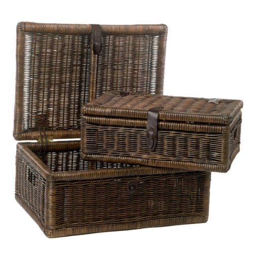 The Basket Lady Covered Wicker Storage Basket Nested set of 2 Antique Walnut Brown