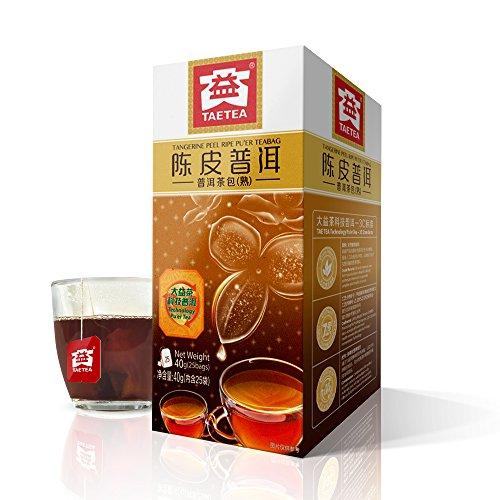 (TAE TEA Tangerine Peel Tea with Pu'er Tea - Chinese Black Tea - Pu erh Tea Bag - Pu er Fermented Tea Bags, 25 Count Individually Wrapped for Weight Loss)