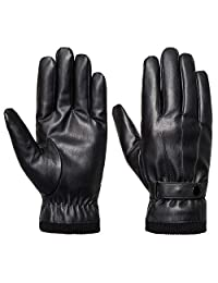 Mens Winter Faux Leather Gloves Touchscreen,Acdyion Driving Gloves Fleece Lining