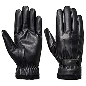 SANKUU Men's Winter Gloves Leather Touchscreen with Snap Closure Cycling Glove Outdoor Riding Warm Waterproof Gloves(S)