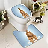 SOCOMIMI 2 Piece Toilet mat Set Statue in Meditation Lotus Lilly Flowers Reflection on Water Eastern Tranquility Blue 2 Piece Shower Mat Set