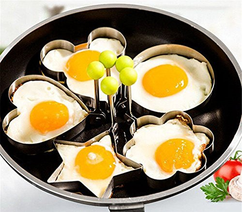 ed Egg Mold Rings 5PCS Packed Stainless Steel Sets Green ()