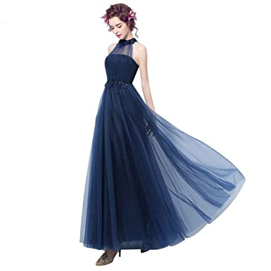 nymph Womens Sleeveless Tulle Halter Party Evening Dresses Navy Blue 8