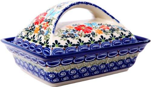 Boleslawiec Stoneware (Polish Pottery Ceramika Boleslawiec, 0352/238, Butter Dish Deep, 2 Cubes, Royal Blue Patterns with Red Cornflower and Blue Butterflies Motif)