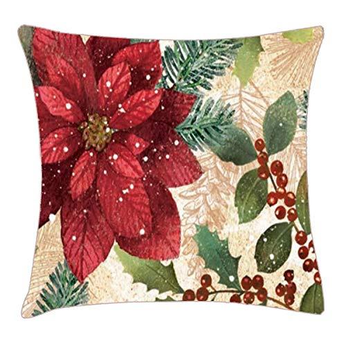 (HFYZT Retro Christmas Poinsettia Throw Pillow Cover 18x18 Inch Two Sides Design Printed Pillowcase)