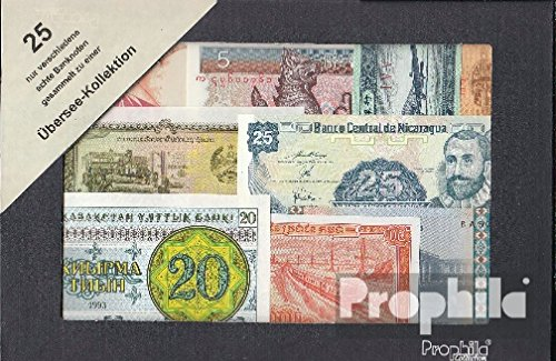 Prophila Collection tutto Mondo 25 diversi Banconote fuori Overseas (Banconote )