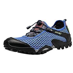 Louechy Men's Ponrea Mesh Hiking Shoes Water Shoes Breathable Outdoor Sneakers Walking Shoe 8302-42 Blue