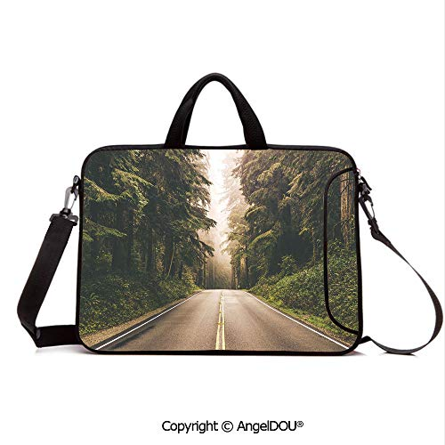 (AngelDOU Customized Neoprene Printed Laptop Bag Notebook Handbag Straight Highway in Northern California United States Nature Photography Decorat Compatible with mac air mi pro/Lenovo/asus/acer F)