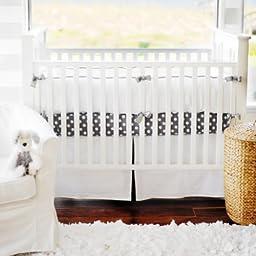 New Arrivals White Pique Crib Skirt, Gray Trim