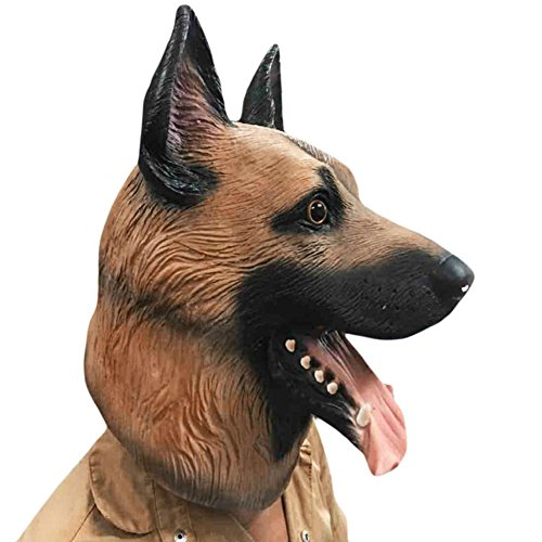 Ireav Dog Mask Head Full Face Latex Halloween Dance Party Costume Wolfhound Masks Theater Toys Fancy Dress Festival Gifts (Is The Halloween Hound Real)