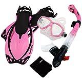 Promate Snorkeling Mask Dry Snorkel Fins Mesh Gear Bag Set 7590, n.Pink, SM