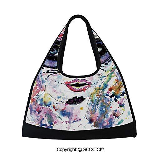 Badminton bag,Halloween Girl with Sugar Skull Makeup Watercolor Painting Style Creepy Decorative,Multi Functional Bag (18.5x6.7x20 in) Multicolor -