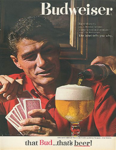 Man playing gin rummy Budweiser beer ad ()