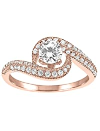 1 Ct. Ctw Diamond Engagement Ring In 14k Solid Rose Gold