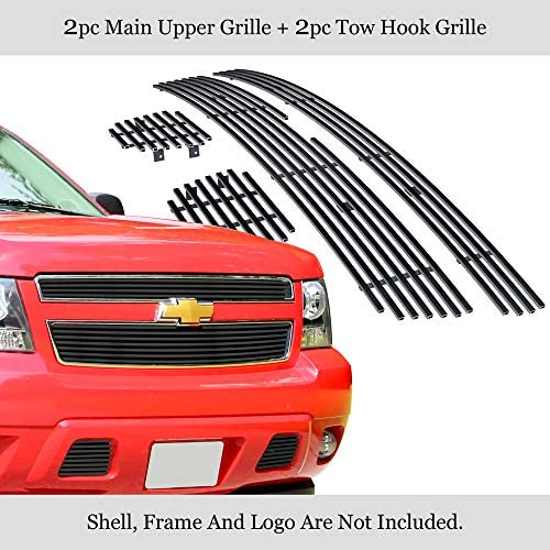 MaxMate Fits 99-02 Chevy Silverado 1500//00-06 Suburban//Tahoe Bolton Upper 2PC Horizontal Billet Polished Aluminum Grille Grill Insert