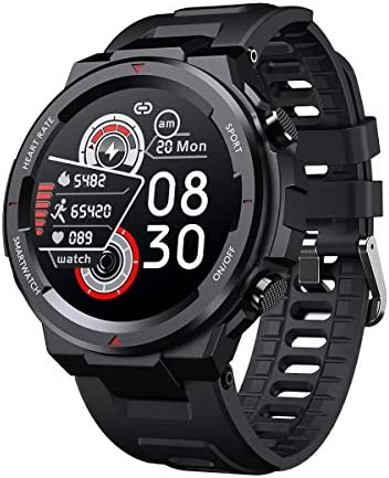 """SANAG Smart Watch for Android and iOS Phones, Tough Body, IP67 Waterproof Fitness Tracker with Message Reminder, HR Blood Pressure Sleep Monitor, Steps Counter, 1.28"""" Touch Screen Smartwatch for Men"""