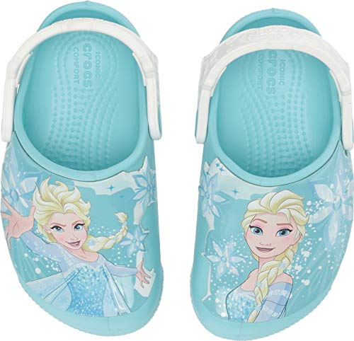 Disney Ice 2019 - Crocs Kids' Fun Lab Frozen Elsa Light-Up Clog, Ice Blue, 1 M US Little Kid