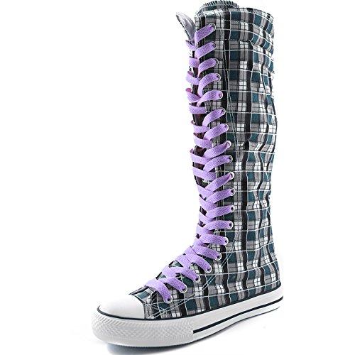 Dailyshoes Womens Canvas Mid Kalf Lange Laarzen Casual Sneaker Punk Flat, Lavendelblauw Wht Geruite Laarzen, Lavendel Kant