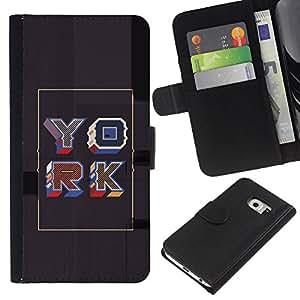 Stuss Case / Funda Carcasa PU de Cuero - Cartel gris York retro del oro de la caligrafía - Samsung Galaxy S6 EDGE