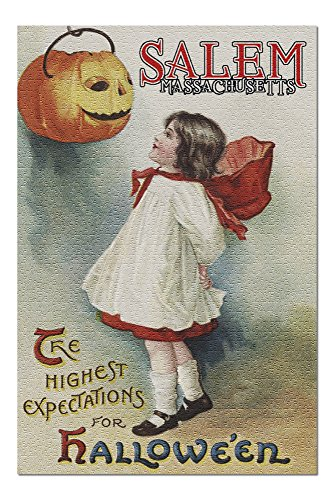 (Salem, Massachusetts - Halloween Greeting - Girl in Red and White - Vintage Artwork (20x30 Premium 1000 Piece Jigsaw Puzzle, Made in)