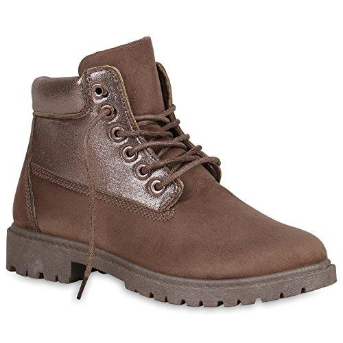 Stiefelparadies Damen Outdoor Stiefeletten Glitzer Worker Boots Profilsohle Flandell Khaki Brooklyn