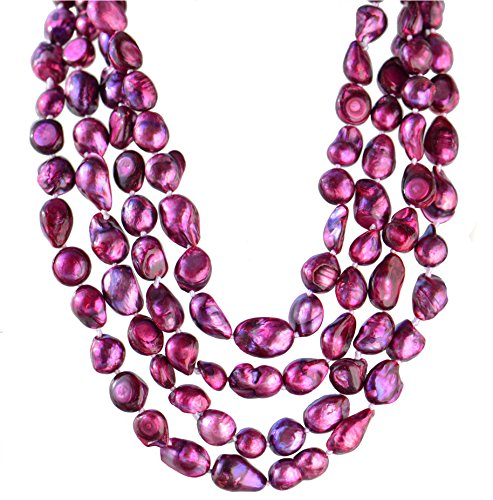 (9-10mm Baroque Cultured Freshwater Pearl Necklace Strand Endless Palette Pure POISON 60