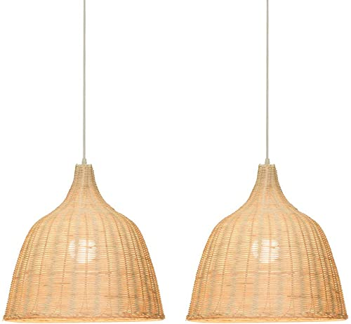 KIRIN Bamboo Rattan Hanging Lamp E26 Pendant Light Nordic Chandelier for Kitchen Bedroom Living Room Restaurant Hotel Fixture 2 Pack 17.71 Dia