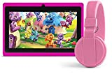7' Inch Kids Headphone Bundle Quad Core Android Tablet, stunning 1024*600 Display, Octa Core GPU, 1GB RAM, 8GB Diskspace extendable with SD card, Wifi, Bluetooth, Google Play Store. - ANOC KIDS
