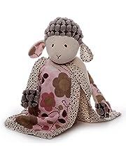 Inwolino 7967 – goseduk får Sweety med napphållare, grädde/rosa, snusnäsduk, 26 cm
