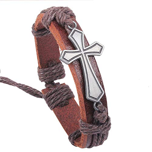 Pattern Monet Bracelet (Secret-Lover Men Jewelry Vintage Leather Bangles Metal Cross Jesus Rope Bracelet Wax Cord,Cross Brown)