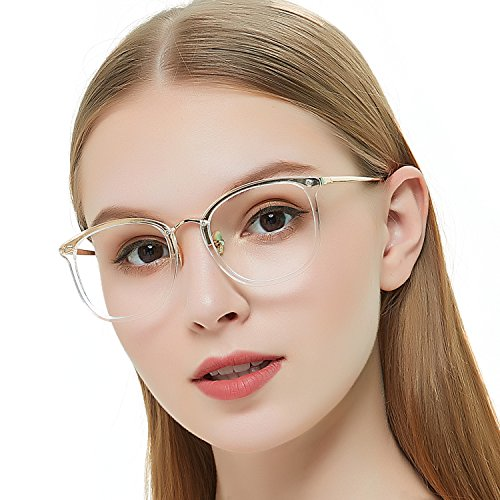 Rx Prescription Eyeglass Frame - OCCI CHIARI Non Prescription Round Optical Eyewear Frames Fashion Clear Lens Glasses For Women 49mm (Transparency)