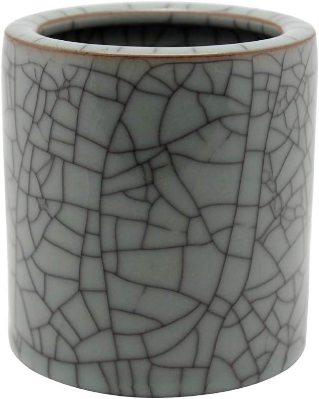 BangQiao Ceramic Decorative Desktop Pen and Pencil Cup Holder, Office Supplies Organizer (Large,Black Veins)