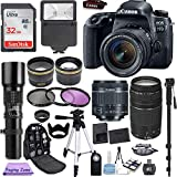 Canon EOS 77D 24.2 MP Digital SLR Camera with 18-55mm and 75-300mm Lenses and Professional Accessory Bundle