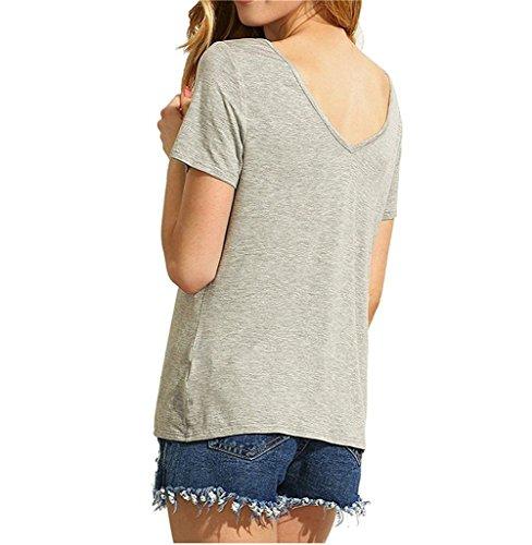 Blusas de Mujer de Moda 2017 Camiseta Lace Up Camisa Manga Corta V Cuello T-shirt Verano Casual Color Sólido Top - Landove Gris