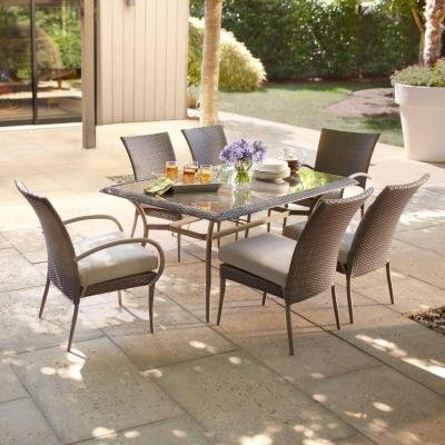 Hampton Bay Posada 7-Piece Decorative Outdoor Patio Dining Set with Gray Cushions, Seats 6 (Hampton Bay Table)