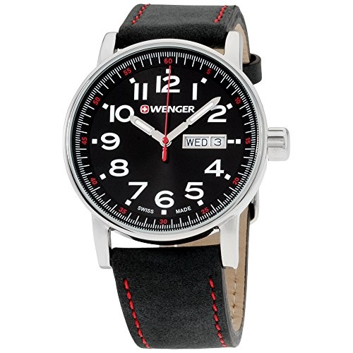 - Wenger Men's Attitude Day/Date Stainless Steel Swiss-Quartz Watch with Leather Calfskin Strap, Black, 21 (Model: 01.0341.103)