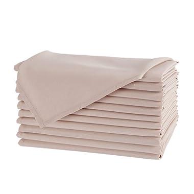 Waysle 20 x 20-Inch Napkins, 100% Polyester Washable Cloth Napkins, Set of 12, Beige