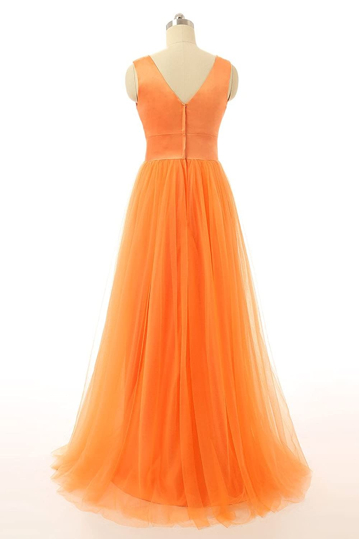 Baijinbai Women's Orange Long Tulle Formal Homecoming Bridesmaid Party Prom Dresses