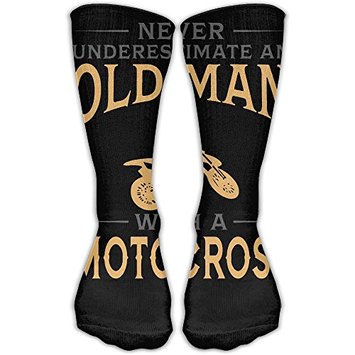 Casual Apparel Motocross (Never Understimate An With A Motocross Unisex Funny Casual 30cm Stockings Athletic Sports Socks)