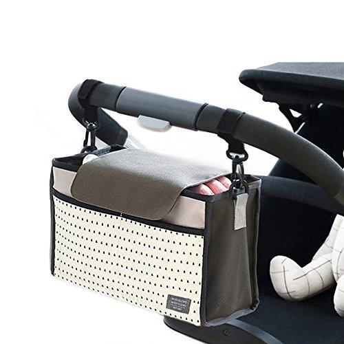Cochecito Bolsa, Airlab Organizador buggy con cremallera, capacidad de 5 cm extra para ampliar, Gran espacio de almacenamiento para los juguetes, pañales, biberones, teléfonos móviles y otros artículo Gris