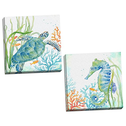 Roaring Brook Lovely Watercolor-Style Tropical Seahorse and Turtle Underwater Set by Cynthia Coulter; Coastal Décor; Two 12x12in Hand-Stretched Canvases ()
