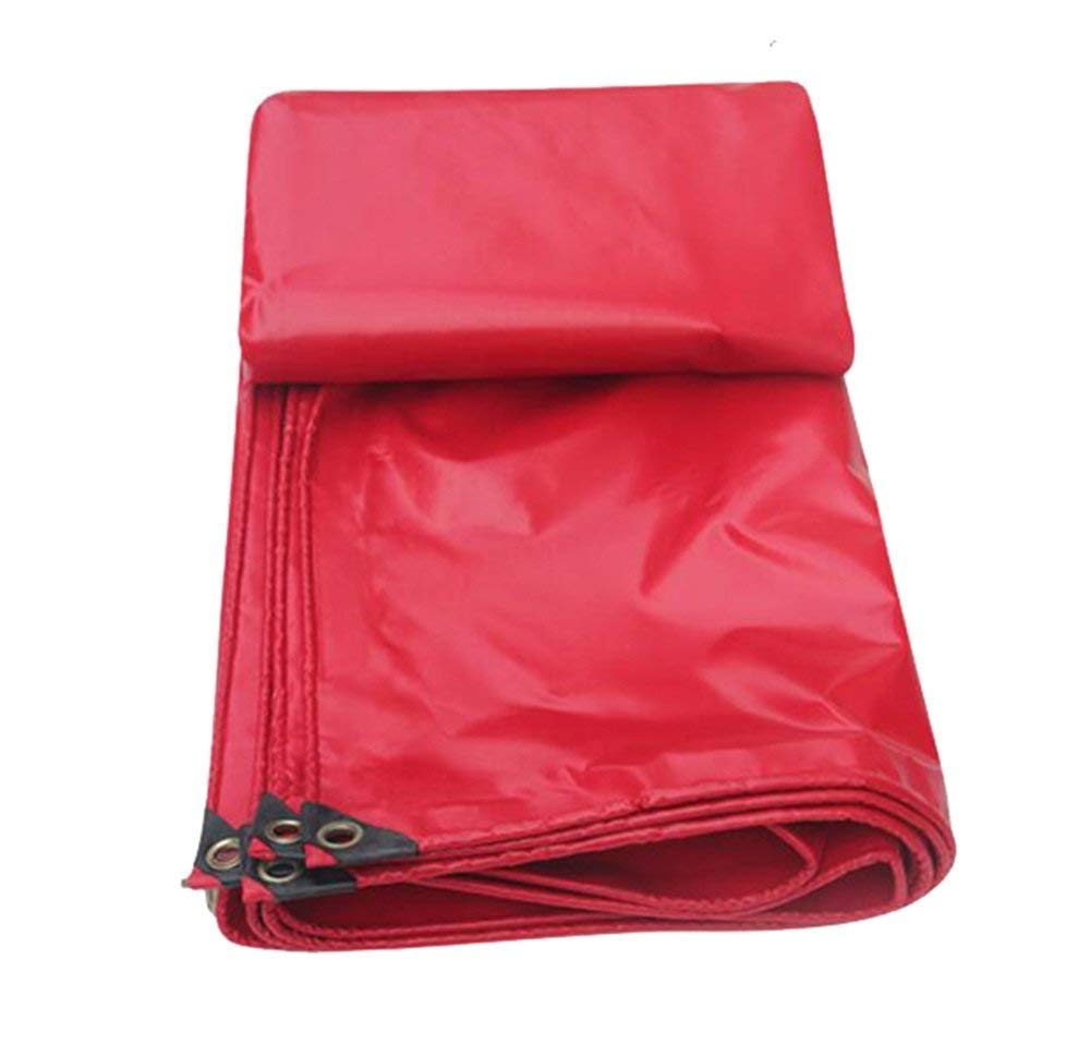 MSF Zeltplanen 100% Wasserdichte Plane ,Outdoor Camping Auto Stiefel Dach Regen CoverTent PVC Schwimmbad Abdeckung, 450g   m² Dicke 0,3 mm, Rot (größe   5x6m)