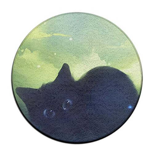 Waterproof Dreamy Black Kitty Round Splash Splat Mat For Under High Chair Floor Protector Cover 23.6