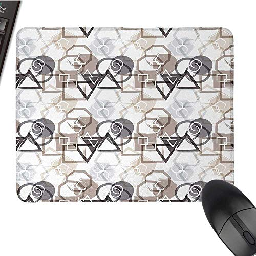 Abstractcomputer Mouse padModern Pattern with Triangles Squares Plygons Circles Grunge CompositionBlack Cloth Mousepad 9.8