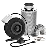 """VIVOSUN 4 Inch 203 CFM Inline Fan with Speed Controller and 4"""" Carbon Filter 8 Feet Ducting Combo"""