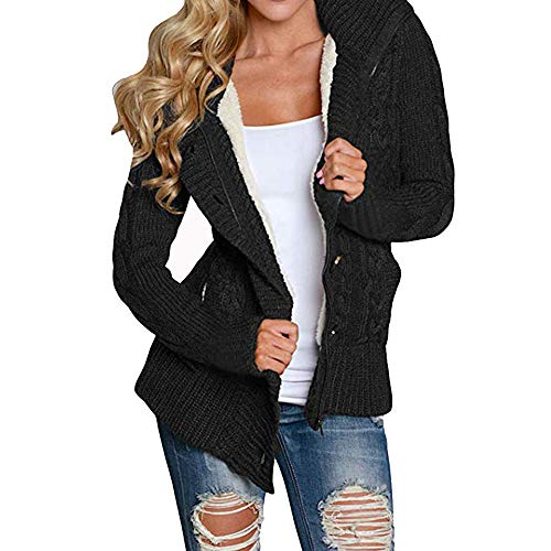 Price comparison product image Duseedik Women Cardigan Coat,  Hooded Overcoat Cable Knit Button Down Outwear Sweater Outwear with Pocket